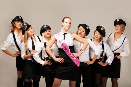 Fiancée with hen party mates