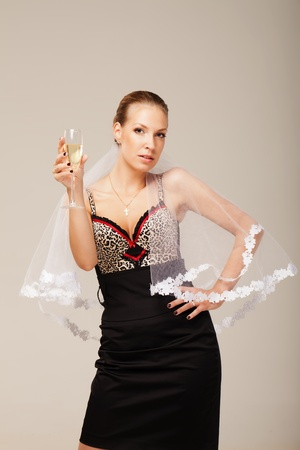 leopard print lingerie: Take a bottle of champagne and let fiancée drink glass or two to make this party started.