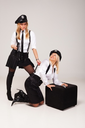 stocking cap: Fiancées party mate are playing in morality police.