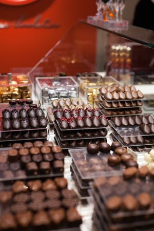 Shop with wide choice of luxury chocolate (Antwerp, Belgium) Stock Photo - 11396414