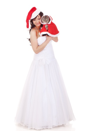 Bride with scottish fold cat in Christmas clothes photo