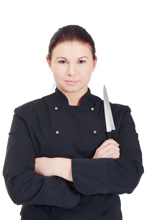 Master chef with a knife in a black jacket Stock Photo - 11881414
