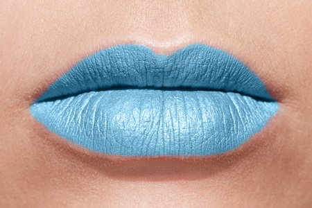 Lips in blue lipstick Stock Photo - 12194321
