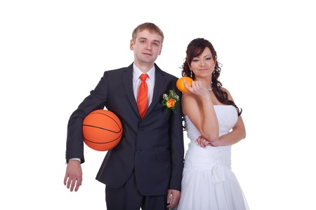 Orange, basketball, tie, rose - everything is orange color in this wedding Stock Photo - 12194322