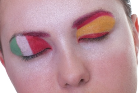Young girl is dreaming about score in match between Spain and Italy: EURO 2012, group C, 10th of June. Focus on eyelashes. photo