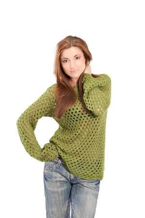 meshed: Young girl in an olive-color meshed sweater