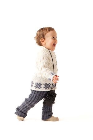 Little boy is in hurry to photo you