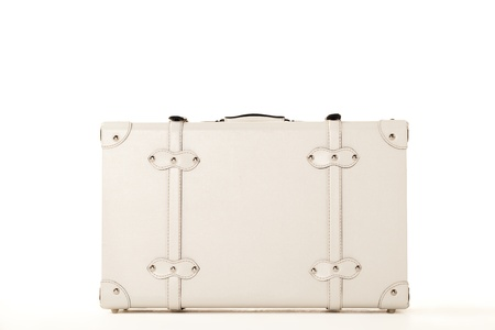 White suitcase on white background, standing on white surface