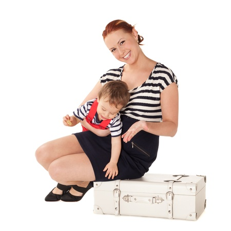 Mother and son are ready for vacations photo