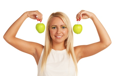 Smiling girl with two apples on isolated white background photo