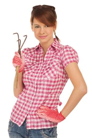 Girl seducing you with rake photo