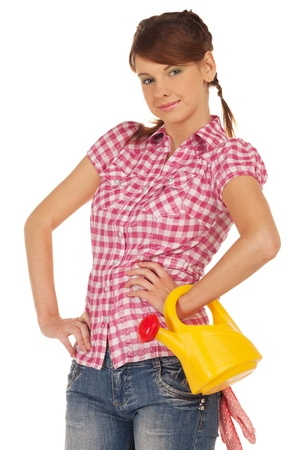 Girl with watering can is ready for gardening Stock Photo - 13856510