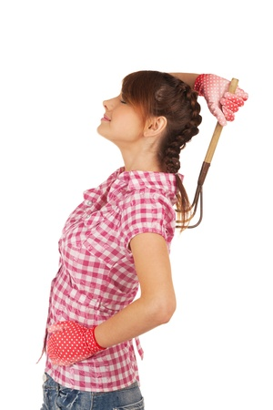 agricultural implements: Girl seducing you with rake
