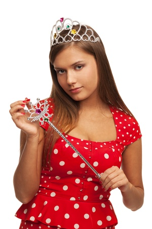 The pageant queen with crown and sceptre