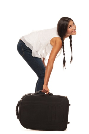 Smiling girl is ready to go for vacations
