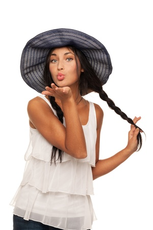 Girl in summer hat is ready for vacation