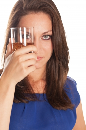 Portrait of a woman with glass of brandy