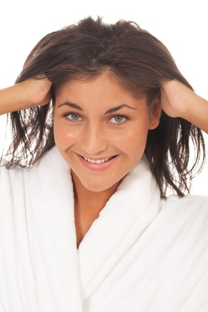 ruffling: Smiling girl with shaggy hair