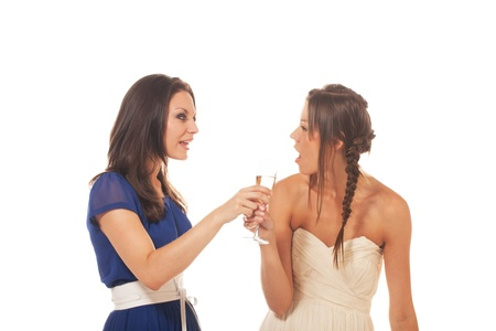 One girl is fighting against another girl drinking too much alcohol Stock Photo