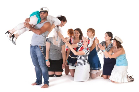 Ideas for hen party: angry mariner abducts bride photo