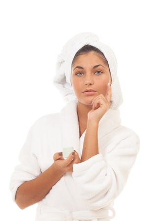 Girl about to apply face cream Stock Photo - 14721930