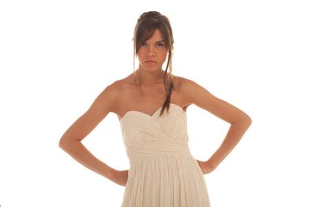 arms akimbo: Angry woman with arms akimbo