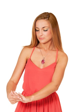 Girl with coral color silver jewellery photo