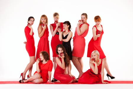 girl in red dress: Ideas for hen party  let it be red