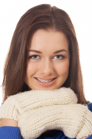 Smiling girl with braces in winter mood Stock Photo - 16248159