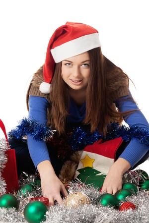 avidity: Greedy girl in Santa cap
