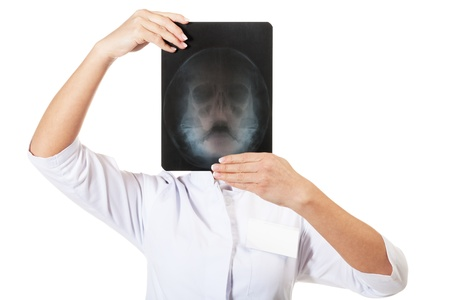 X-ray specialist on isolated white photo