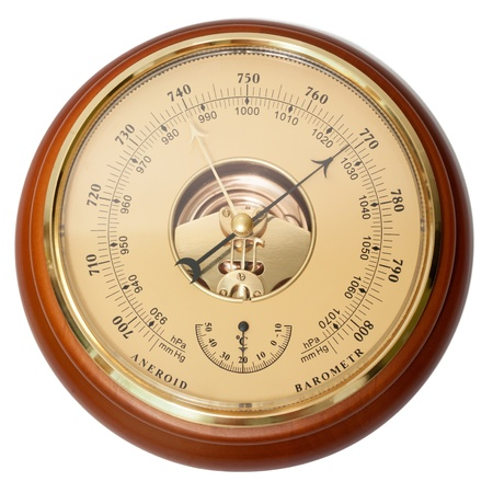 Vintage aneroid barometer on isolated white