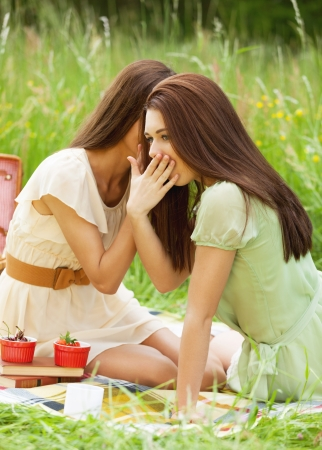 Two girl gossiping during picnic photo