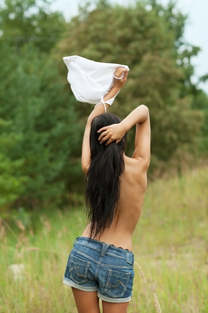 Surrendering girl with white flag