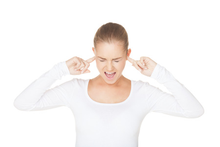 Screaming woman on isolated white photo