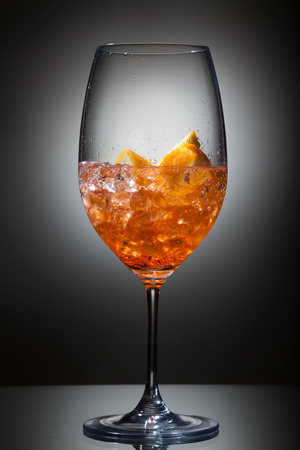 Freshly made Spritz with aperol, soda and prosecco.