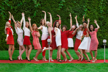 farewell party: Hen party: bridesmaid in white and red