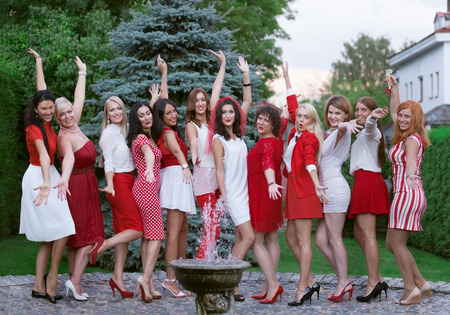 hen party: Hen party: bridesmaid in white and red