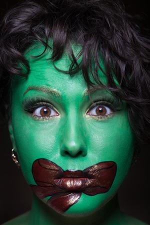 Close-up of a creative gift make-up photo