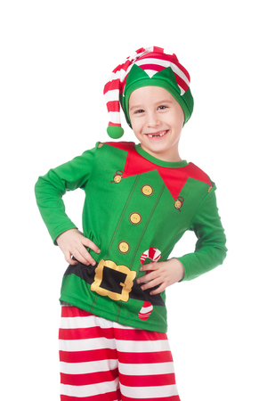 Funny and adorable elf grimacing on isolated white Stock Photo