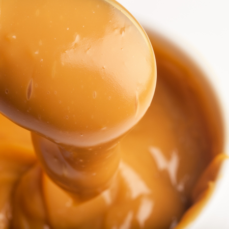 Close-up of a handmade toffee made from condensed milk