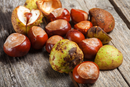 Chestnut on the vintage wooden table Stock Photo - 87980712