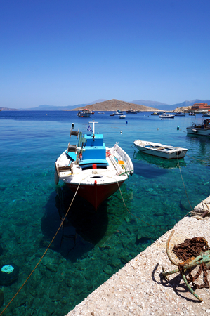 halki: Bay with the ships of the fishermen of Halki island Stock Photo