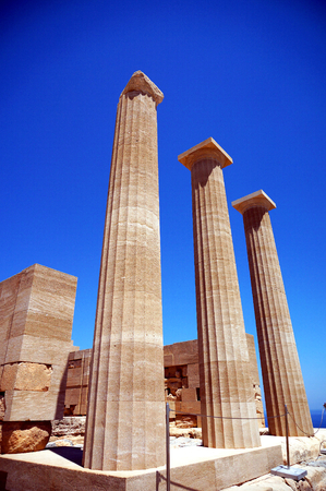 antiquities: columns of the temple of Aphrodite in Lindos