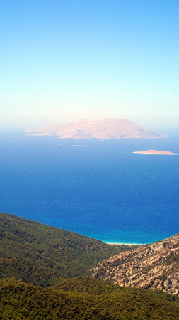 halki: Chalki view from the island of Rhodes Stock Photo