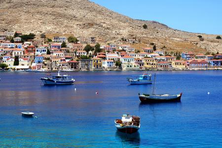 halki: Bay with the ships of the fishermen of Halki island Stock Photo