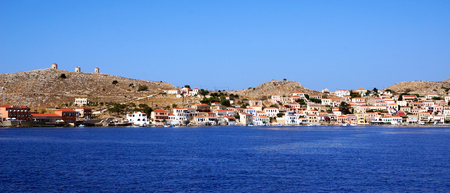 greece shoreline: Bay with the ships of the fishermen Stock Photo