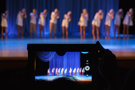 the scenes of childrens performances in the theater Stock Photo