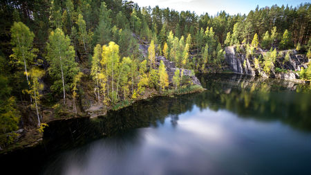 The lake Talkov stone in the early autumn