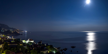the view from fores in the Eastern part of the coastline in the night lights